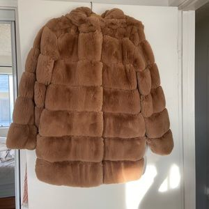 BCBG Faux Rabbit Fur Hooded Jacket